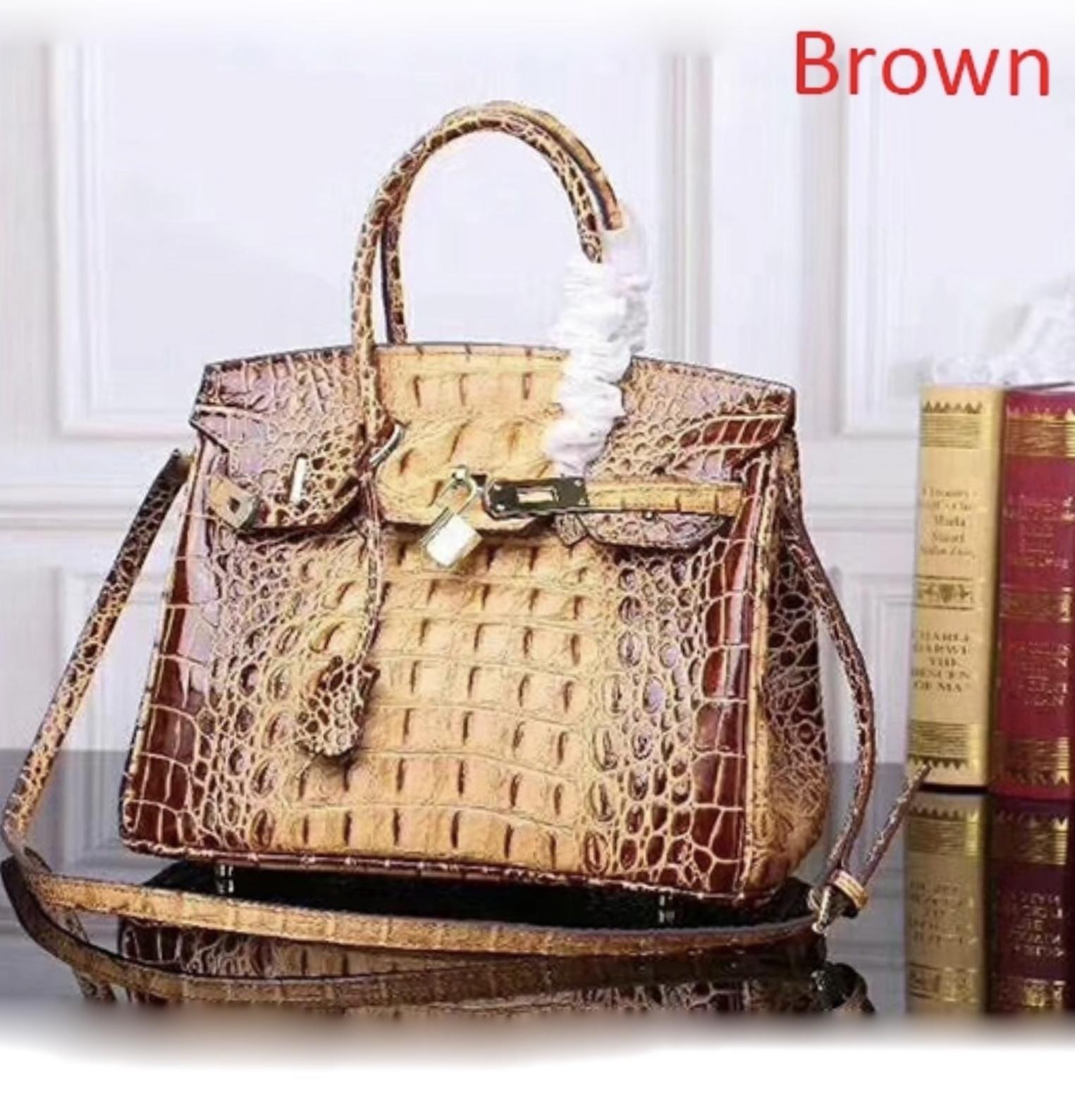 35 cm Crocodile Embossed Italian Leather Birkin Style Handbag Satchel Bag 1633L