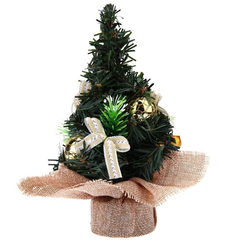 (yellow)Mini Christmas Tree Ornaments Bonsai Landscape Decor Xmas Home Ornament