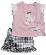 Le Top Toddler Girls Pink Poodle Top and Skort Set   - $27.00