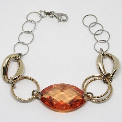 925 STERLING SILVER BRACELET BIG ORANGE FACETED OVAL, YELLOW WORKED CIRCLES