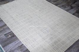 9x13 Modern Contemporary Designer Basketweave Ivory Grey Gray Wool Area Rug - $899.00