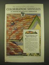 1918 Johns-Manville Asbestos Color-Blende Shingles Ad -  aristocrat  - $14.99