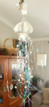Pair Pottery Barn JELLY FISH Ornament Blown Glass Pearl Tinsel - $16.95
