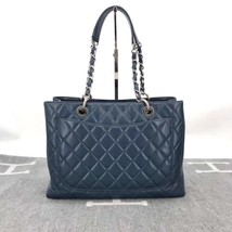 RARE AUTH CHANEL BLUE QUILTED CAVIAR GST GRAND SHOPPING TOTE BAG image 2