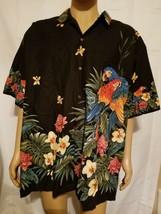 Made In Hawaii Fashion Hawaiian Shirt Black Parrots Parrot Birds Of Para... - $33.51