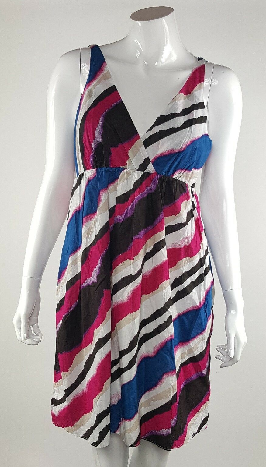 Old Navy Womens Size Small Multi-Color Striped Sleeveless Short Lined Dress EUC