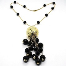 Necklace Silver 925, Yellow, Big Sphere Worked, Waterfall Onyx Black image 1