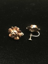 Vintage 50s golden rose screw back earrings image 2