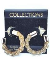 Vintage 80s Braided Half Hoop Earrings Chunky R... - $9.49