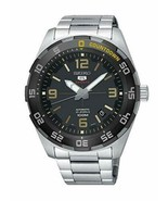 Seiko 5 Automatic Black Dial Stainless Steel Strap Men's Wrist Watch SRP... - $257.39