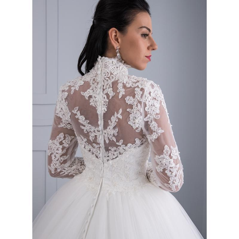 High Neck IIIusion Back Long Sleeve Wedding Dress Lace Ball Gown Wedding Gowns image 5