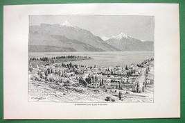 NEW ZEALAND Queenstown Lake Wakatipu - 1890 Antique Print Engraving - $16.83