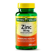 Brand New Spring Valley Zinc Vitamin 50 mg 200 Count Caplets For Immune Support - $9.65