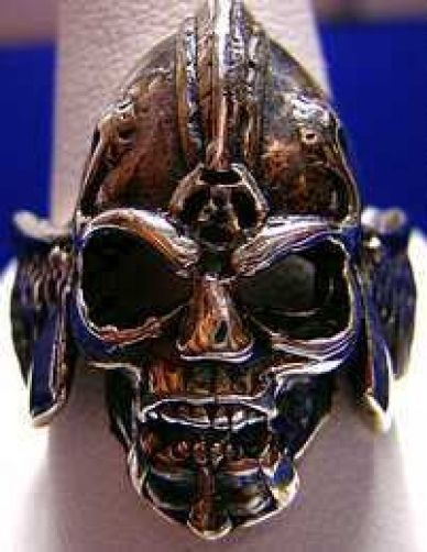 NICE Battle Armor Skeleton Warrior Ring Silver Gothic Skull
