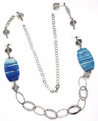 925 Silber Halskette, Achat Blau Gebändert Oval Groß , Achat Weiß, Lang 90 CM