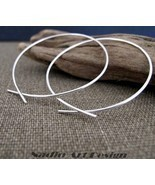 Elegant Hoop Earrings. Sterling Silver Hoops. Modern Style - $27.00