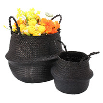 Black Seagrass Belly Basket Storage Holder Plant Pot Bag Home Decoration - £22.36 GBP