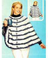 Y881 Crochet PATTERN ONLY Ladies Blue Roses Poncho Pattern - $8.45