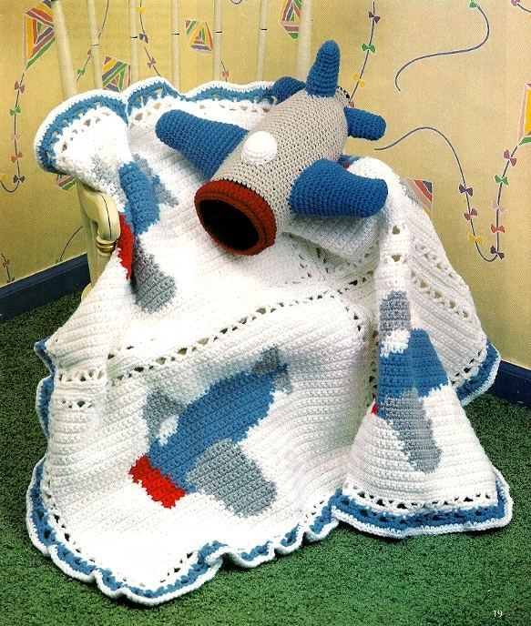 Y888 Crochet PATTERN ONLY Airplane Motif and 50 similar items