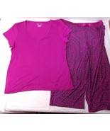 Alfani Intimates Leopard Print PJ Pajama Set 2 Pc Pink Womens XL Shirt /... - $19.79