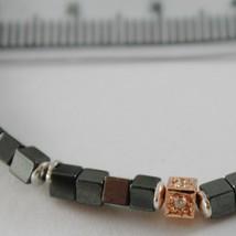 BRACELET GIADAN 925 SILVER HEMATITE GLOSSY AND DIAMONDS WHITE MADE IN ITALY image 2
