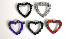 MARC JACOBS Heart Shape Crystal Brooch Pin Blue Green Red Silver Black NEW - $14.93