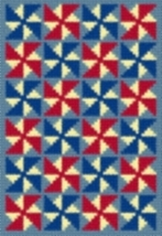 Latch Hook Rug Pattern Chart: Patriotic Pinwheels - EMail2u - $5.75