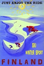 "Just Enjoy the Ride Finland Ski Winter Sport Downhill Skiing 16"" x 24"" v... - $14.50"