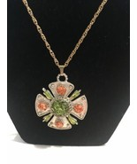 Metal Maltese Cross Pendant Necklace Coral Green Celluloid Beads GOLDTON... - $9.49
