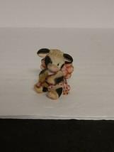 Vintage Enesco Corp Mary Rhyner Valentines Cow Bear Cupid Ceramic Figure 1995 - $15.00