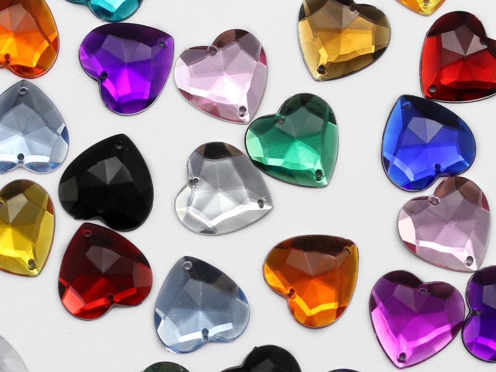 20mm Gold Topaz CH16 Heart Flat Back Sew On Gems For Craft 25PCS