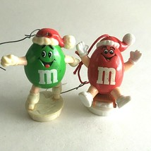 "Vintage Christmas Ornaments Resin M&M 3"" Candy Men on Pedestal Green Red  - $10.84"