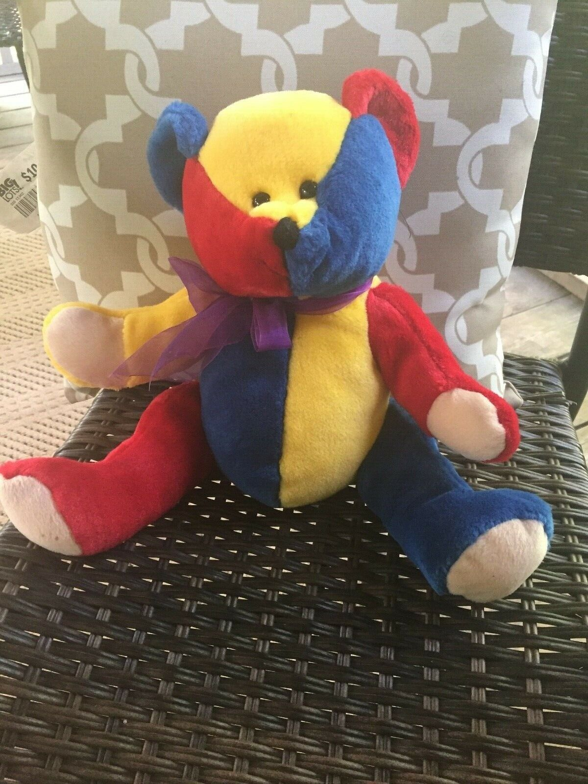 Vintage sugarloaf Primary Color Teddy Bear Red Blue Yellow with Purple Ribbon  - $49.49
