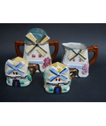 Vintage Ceramic Figural Windmill Cottage Set of Sugar Creamer Salt and P... - $33.95