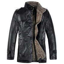 Men's Quality PU/ Split Leather Slim Fit Plush Thickened Warm Jacket - $79.99