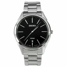 NEW Seiko SGEG69 Men's Black Dial Dress Stainless Steel Date Watch MSRP ... - $88.88