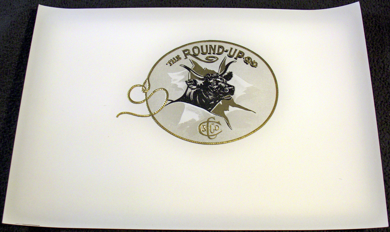 The Round Up Embossed Inner Cigar Label, 1900's