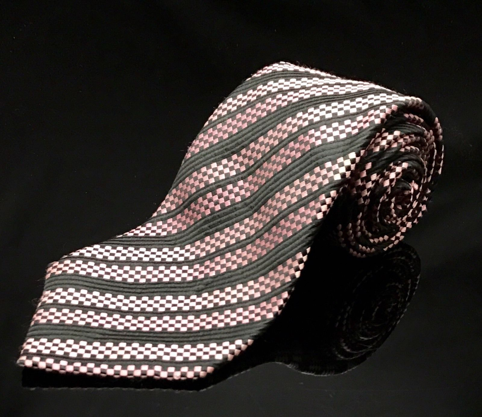 GEOFFREY BEENE BLACK Pink SQUARE BLOCKS Stripe SILK NECKTIE TIE Unique