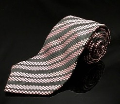 GEOFFREY BEENE BLACK Pink SQUARE BLOCKS Stripe SILK NECKTIE TIE Unique - $16.73