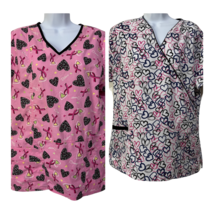 Lot of 2 Womens Scrubs Size M Breast Cancer Hearts Pink White Pockets - £17.26 GBP