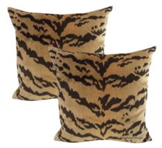 Nobilis of Paris Velvet Tiger Down Feather Accent Pillows - Set of 2 - $575.00