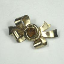 Coro Brooch 1.5 In Goldtone Pin Orange Rhinestone Ribbon Bow Estate VTG 50s - $19.79