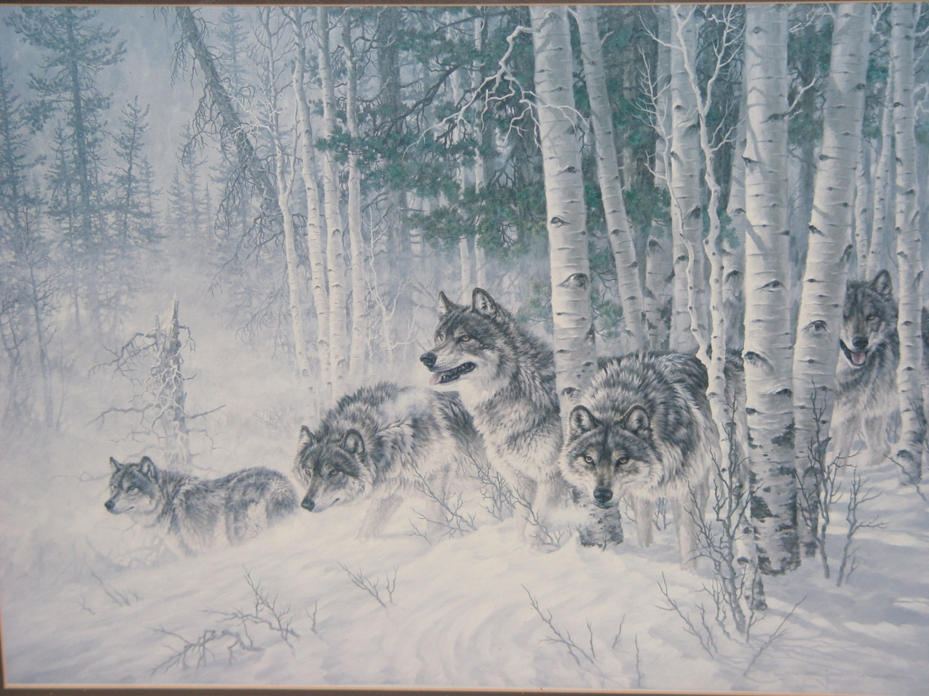 """Larry Fanning """"Winter's Lace Gray Wolves'  Framed and Matted  Lithograph Print"""