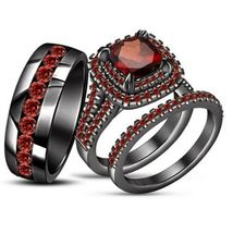 14k Black Gold Over 925 Sterling Silver His Her Wedding Red Garnet Trio ... - $168.99