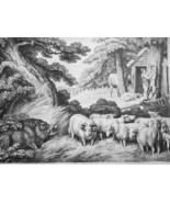 AESOP FABLES Animals Wild Boar Sheep & Butcher - 1811 Original Etching P... - $30.60