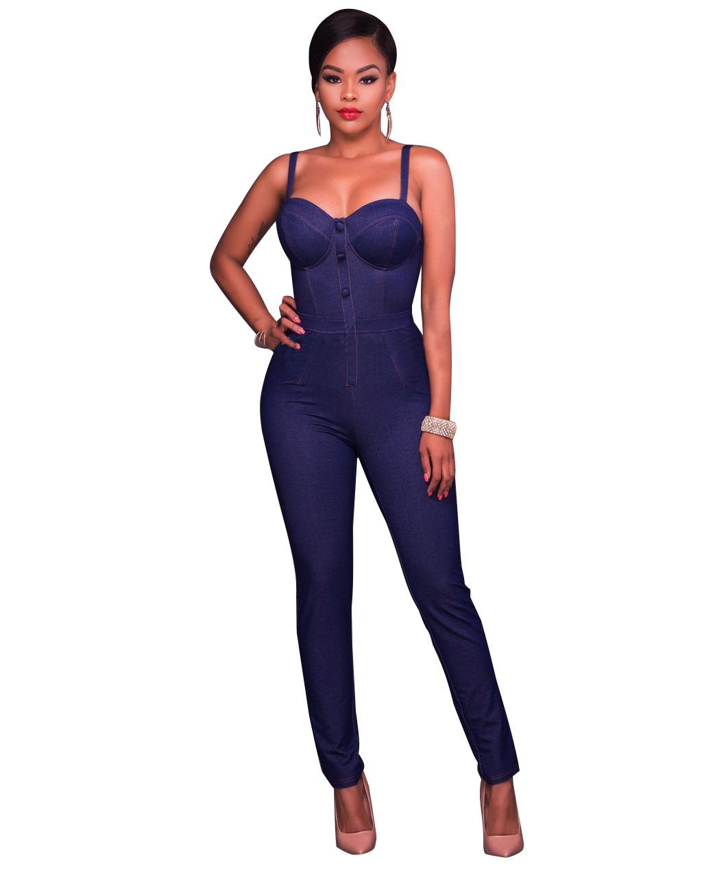 Blue Strappy Denim Jumpsuit