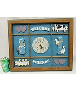 Country Goose Elgin Wall Clock Welcome Friends Hanging Wood Cow Girls Vi... - $54.45