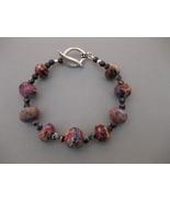 Jasper Bracelet Purple Beige Handmade - $17.99