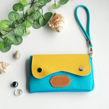 [Sweet Orange] Colorful Leatherette Phone Case Clutch Pouch - $10.99
