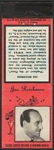 Vintage match book cover JOE REICHMAN Diamond Match Nite Life series wit... - $8.99